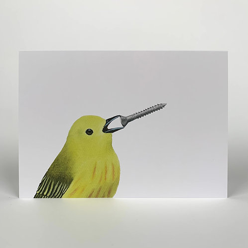 Yellow Warbler With Screw Blank Note Card