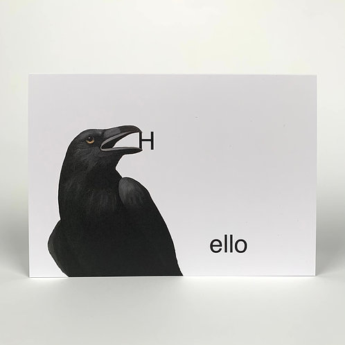 Crow With H-ello Blank Note Card