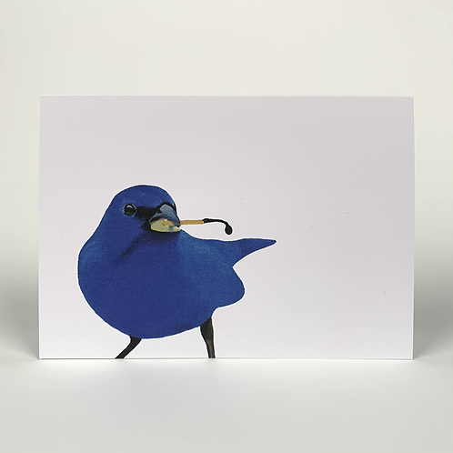 Bluebird With Burned Match Blank Note Card