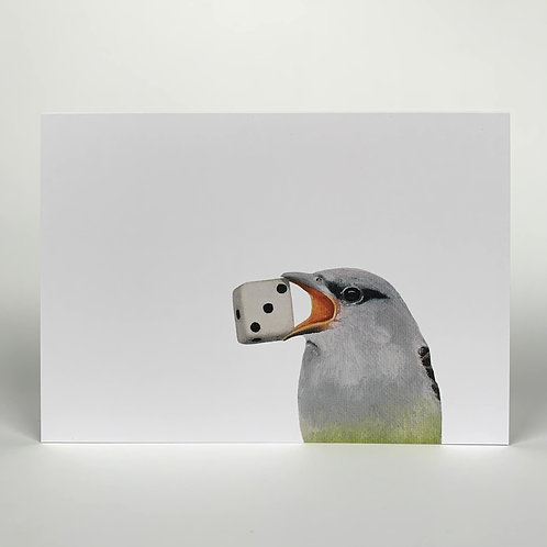 Bird With Dice Blank Note Card
