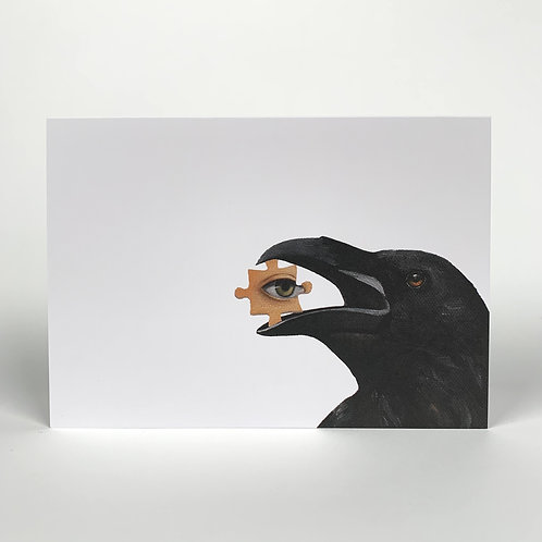 Crow With Puzzle Blank Note Card