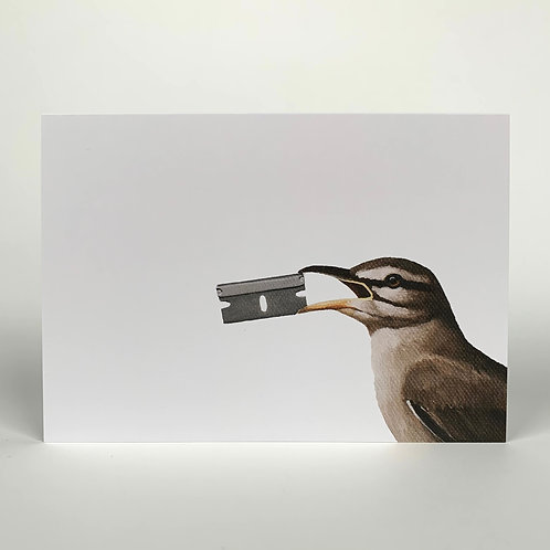 Bird With Razor Blade Blank Note Card