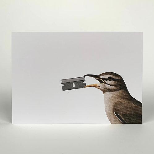 Bird With Razor Blade Blank Note Card