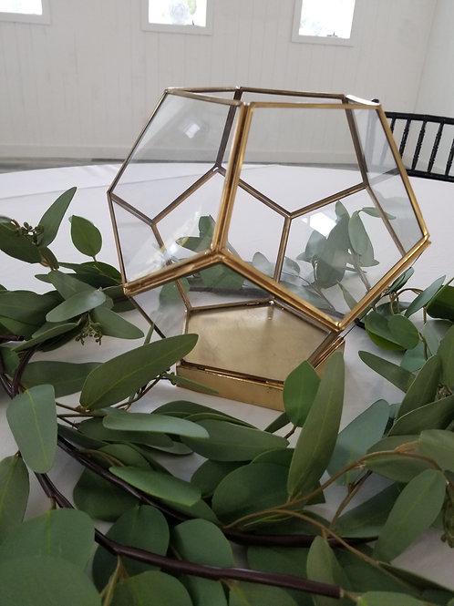 Gold Pentagon Glass Decor