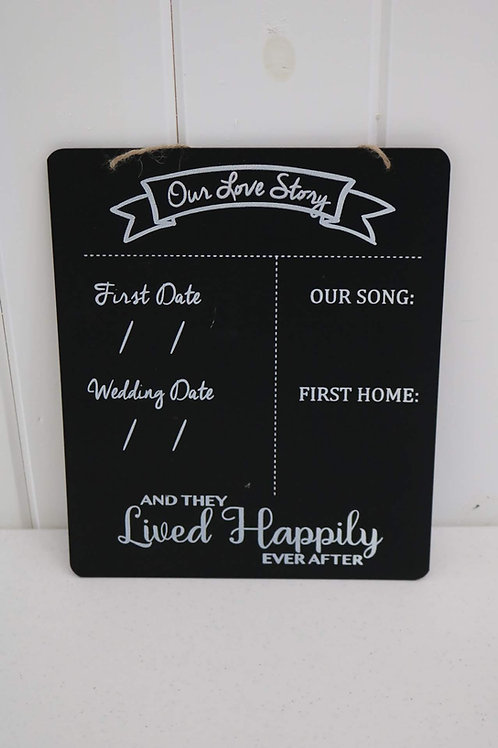Our Story Chalkboard Sign