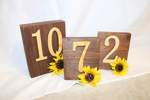 Wooden Sunflower Table Numbers