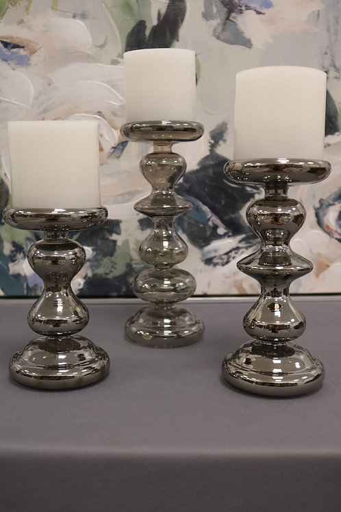 Grey Glass Candle Holders