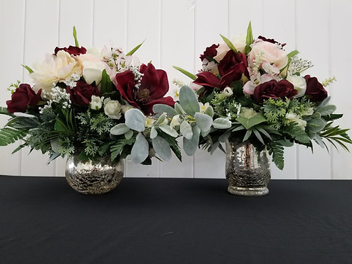 Floral Centerpieces with Mercury Glass Vases