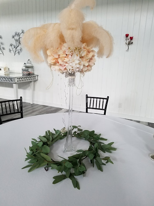 Floral Centerpiece with Ostrich Feathers