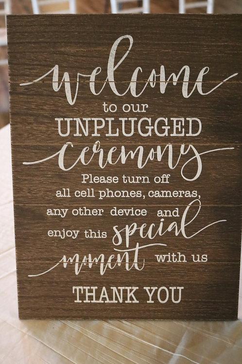 """Unplugged Wedding"" Sign"
