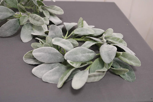 Round Vase Garland with Frosted Leaves