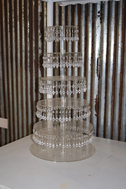 5 Tiered Clear Jeweled Dessert Display