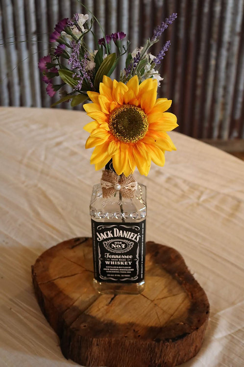 Jack Daniel's Bottles with Flowers