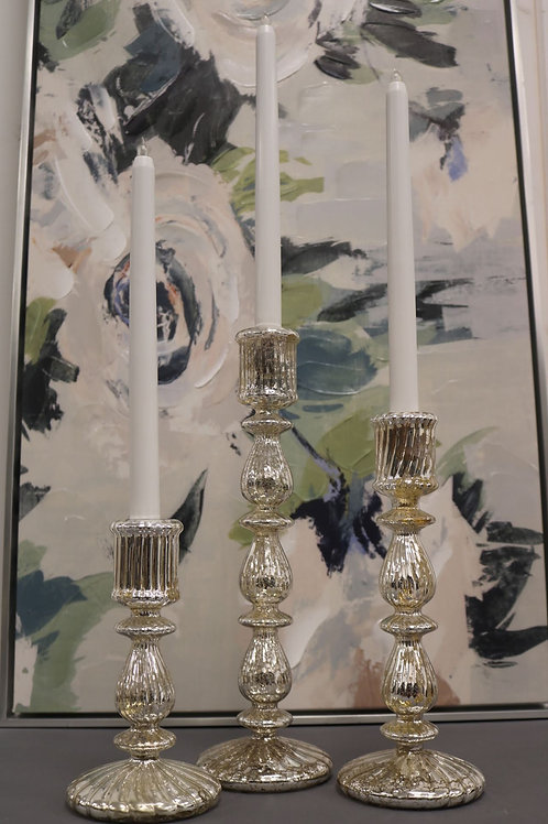 Mercury Glass Long Stem Candle Holders