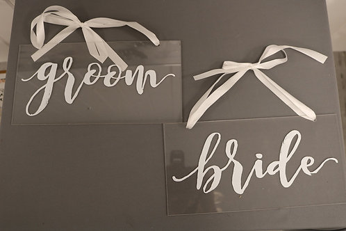 Clear Bride & Groom Sign