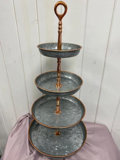 Gold Rimmed Tin Dessert Stands