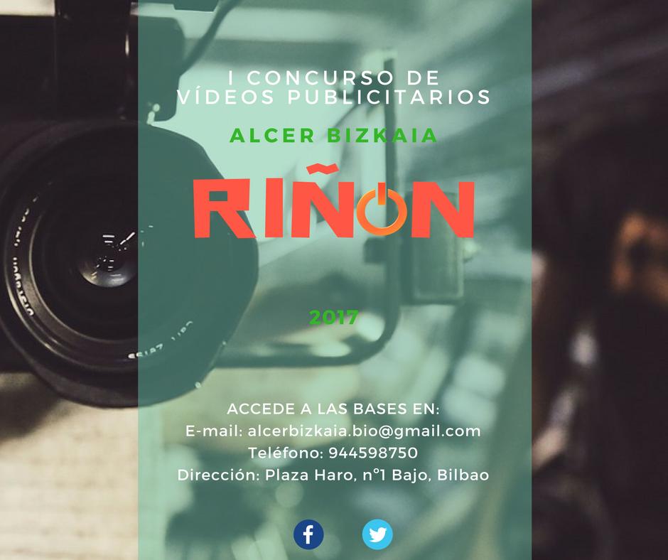 ALCER-BIZKAIA presenta el primer concurso de vídeos publicitarios RIÑ-ÓN-. Mándanos un vídeo tipo spot publicitario donde se vea reflejada la situación que viven las personas con enfermedad renal y opta a un premio.