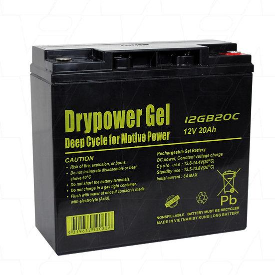 Drypower 12V 20Ah Sealed Lead Acid Gel Deep Cycle Battery