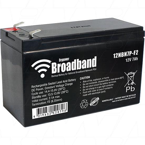 Drypower BROADBAND 12V 7Ah Sealed Lead Acid Battery for NBN