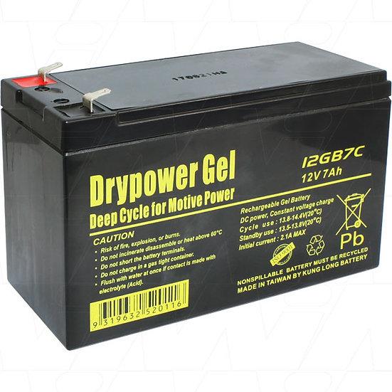 Drypower 12GB7C 12V 7Ah Sealed Lead Acid Gel Deep Cycle Battery