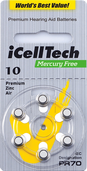 IcellTech Hearing Aid Batteries Size 10