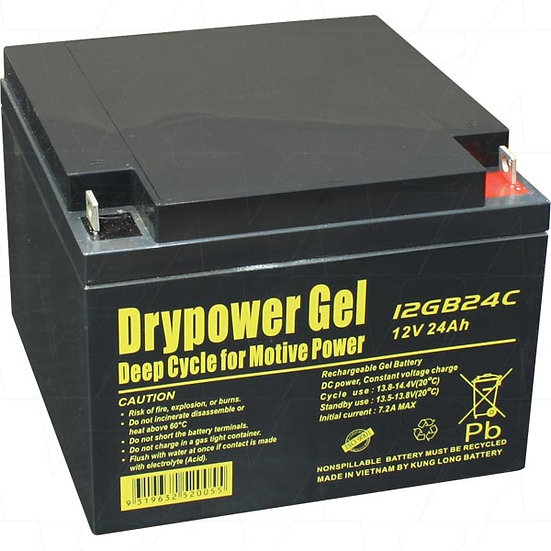 12GB24C 12V 24Ah SLA Battery