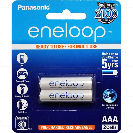 Eneloop rechargeable AAA batteries 2pc