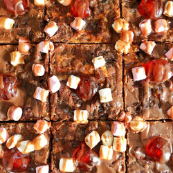 Vegan cherry and marshmallow brownies