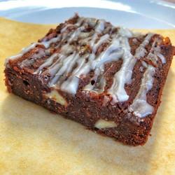 Vegan white chocolate and marshmallow brownie