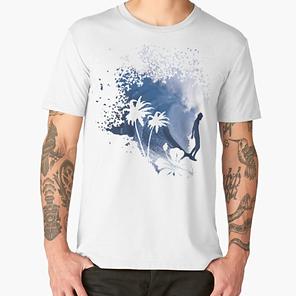 Unisex T-Shirt Big Wave Longboard Surfer, Beach, hawaii