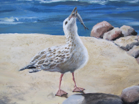 Three Gulls and a Buoy (detail)