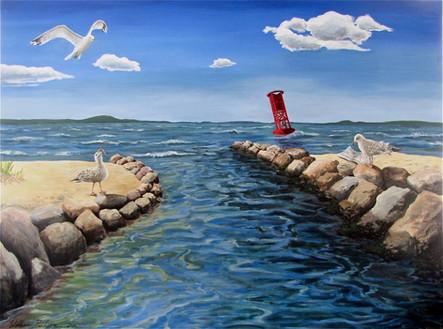 Three Gulls and  Buoy