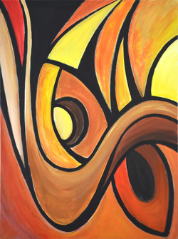 Abstract Triptych 3: Fire/Autumn