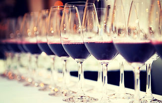 Row of red wine glasses