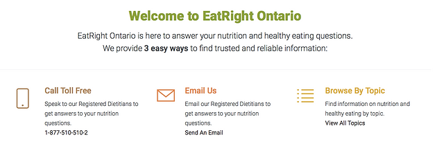 "Eat Right Ontario"" is there to answer all your healthy eating questions!"