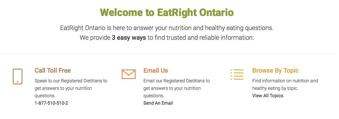 """Eat Right Ontario"""" is there to answer all your healthy eating questions!"""