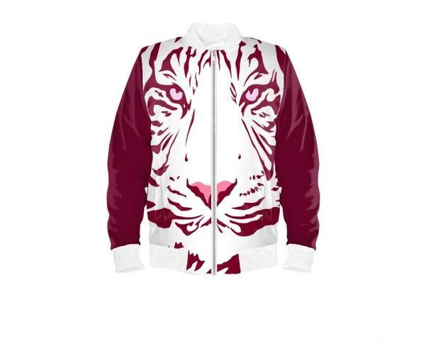 Red Wine Tiger Bomber Jacket