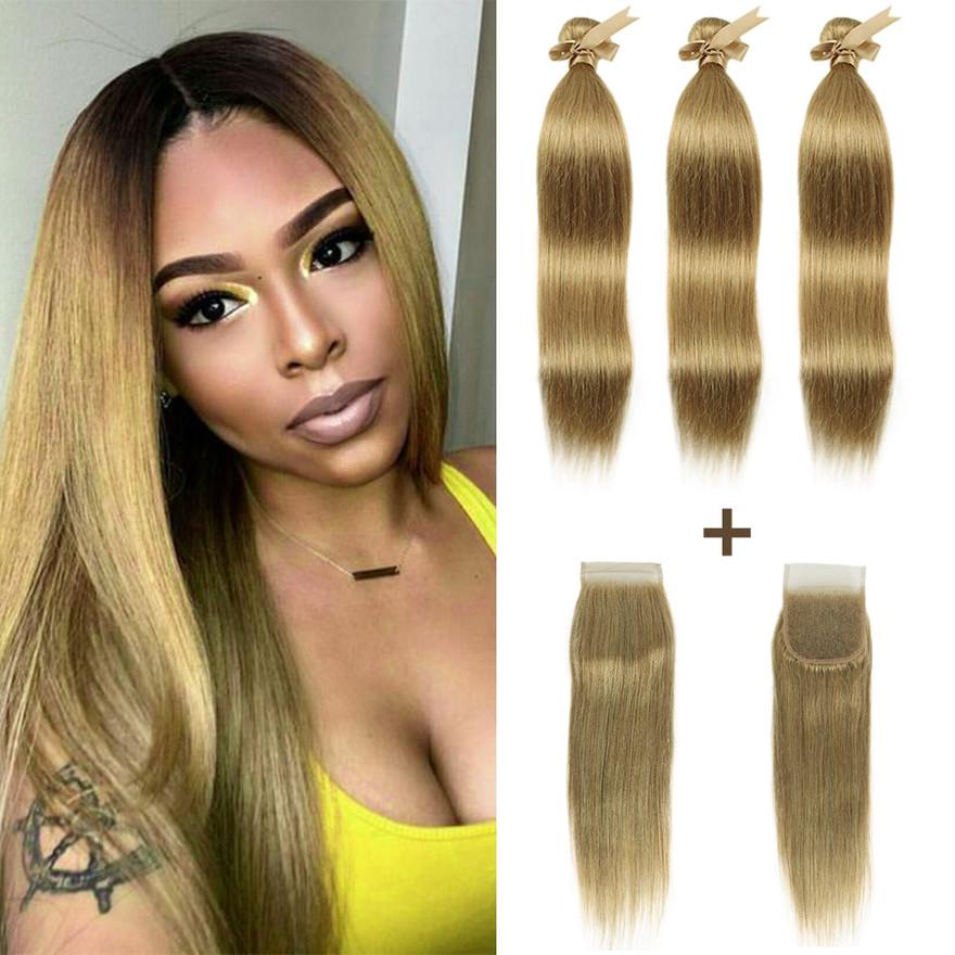 Straight Blonde Hair Bundles With Closure
