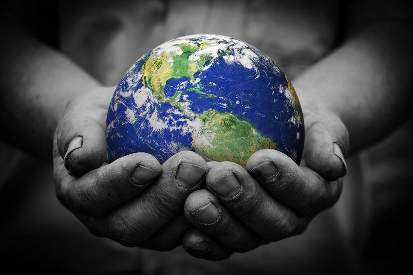 Beautiful Earth held in hands