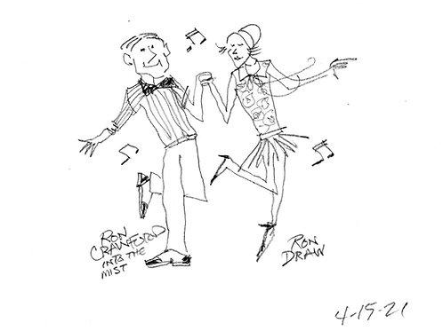 ORIGINAL Ron Crawford Drawing: Dancers in the Park