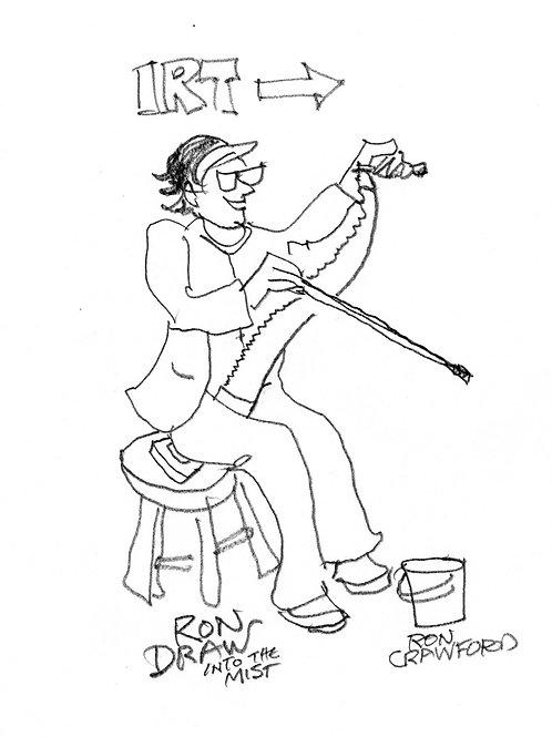 ORIGINAL Ron Crawford Drawing: Saw-Lady in Subway