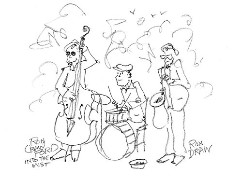 ORIGINAL Ron Crawford Drawing: Band in the Park
