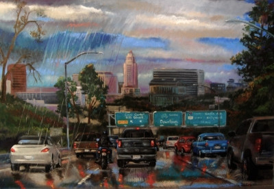 "Freeway Painting of Los Angeles,CA ""Mostly Sunny"""