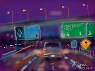 """digital painting - """"unmarked highway"""" - Bjlane Blog"""