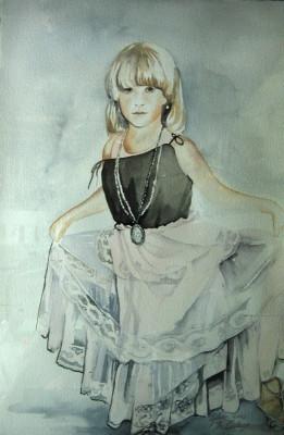 "Portrait in watercolor ""The Curtsy"" ©1990"