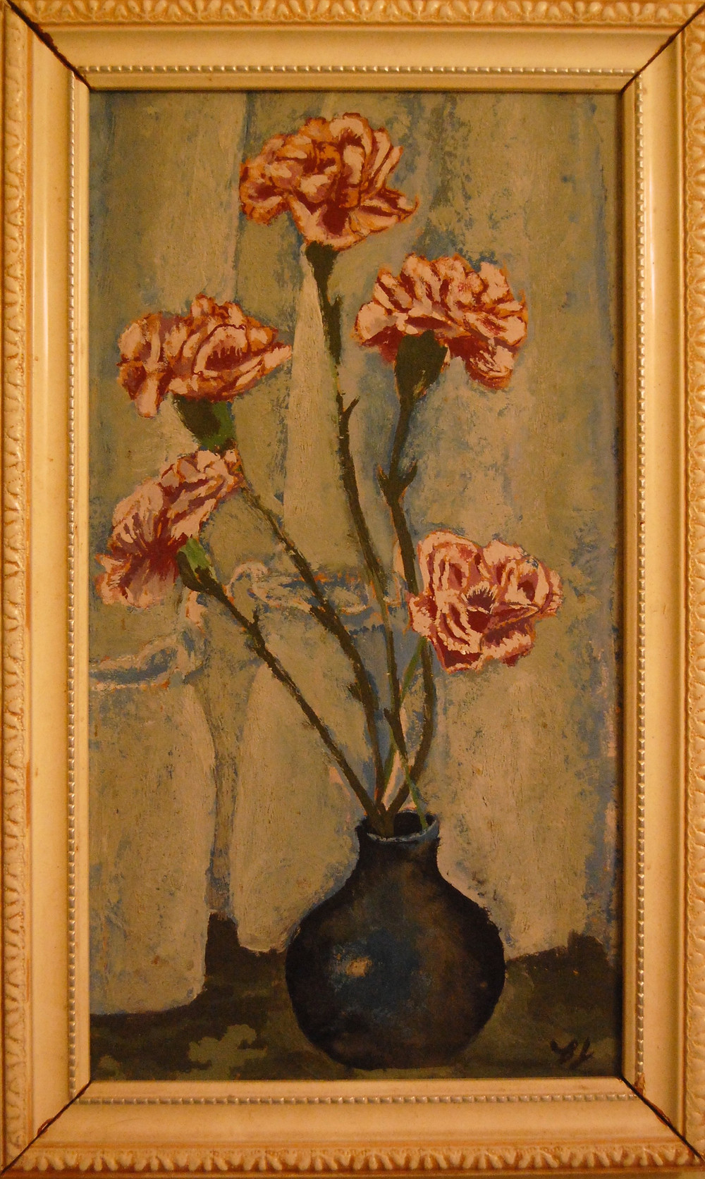 Bjlane's first painting - carnations in vase ©1969