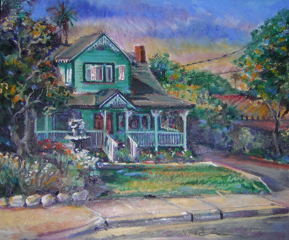 Portrait of the Green House on Royal Oaks Drive, Duarte CA