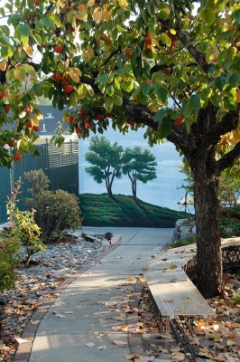 Outdoor Mural - trees on a garage