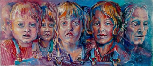 "Portrait painting of Autism Spectrum - ""in a wink of an eye"" ©2007 Bjlane"