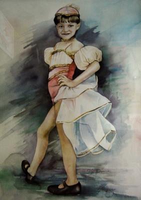 "Portrait in watercolor ""Tap Dancer"" ©1989"